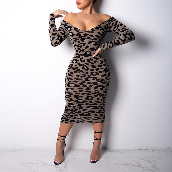 Sexy Deep V Neck Long Sleeve Leopard Printed Bodycon Dress
