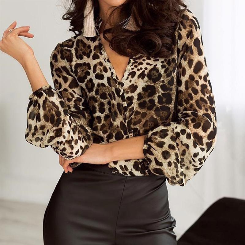 V Neck Long Lantern Sleeve Leopard Printed Fashion Blouses