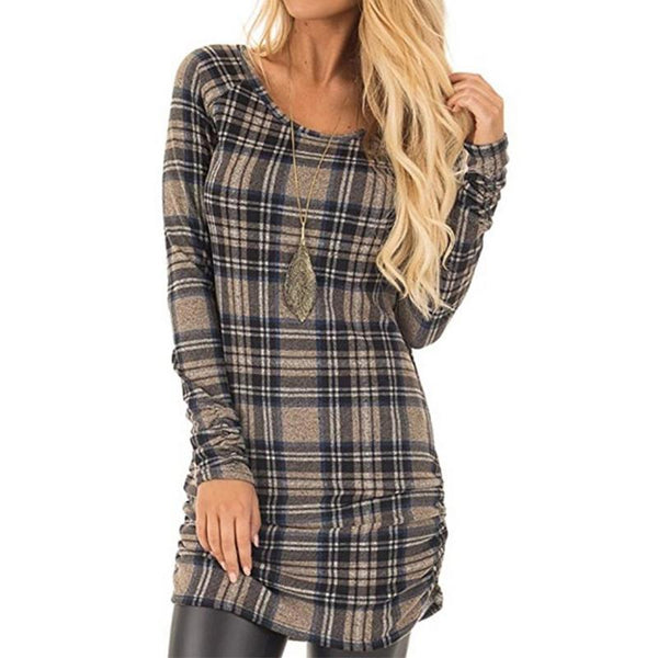Round  Neck Long Sleeve Plaids Bodycon Dress