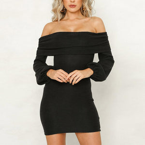 Sexy Off Shoulder Long Lantern Sleeve Knitting Bodycon Dress