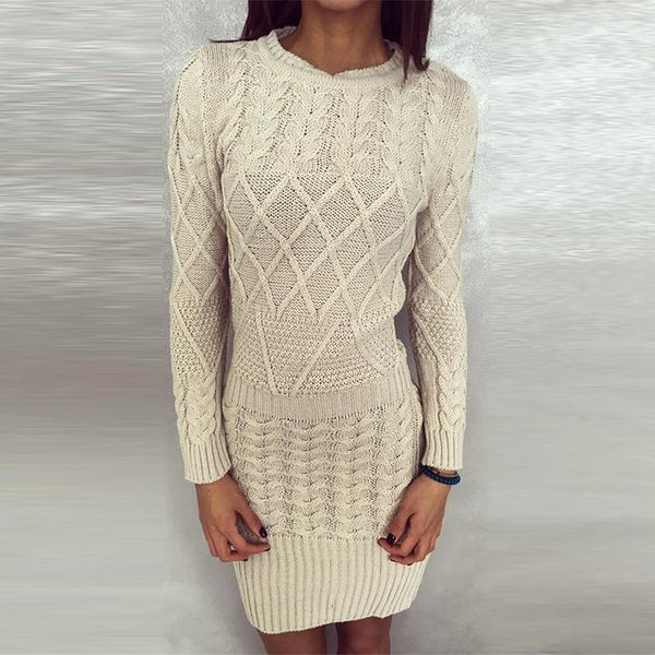Round Neck Long Sleeve Plain Sexy Knitting Bodycon Dresses