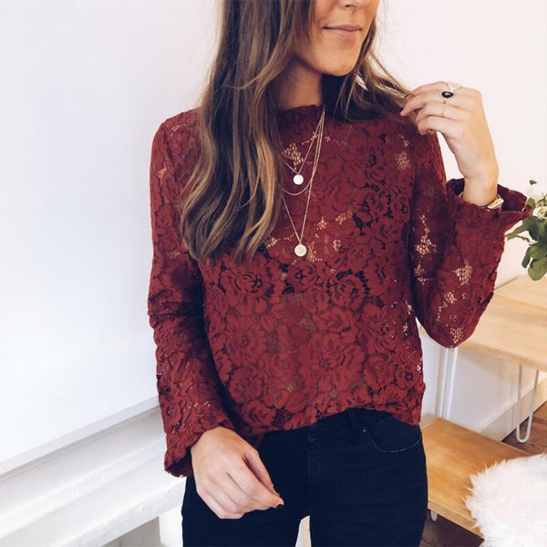 Fashion Pure Colour   Lace Long Sleeve Top