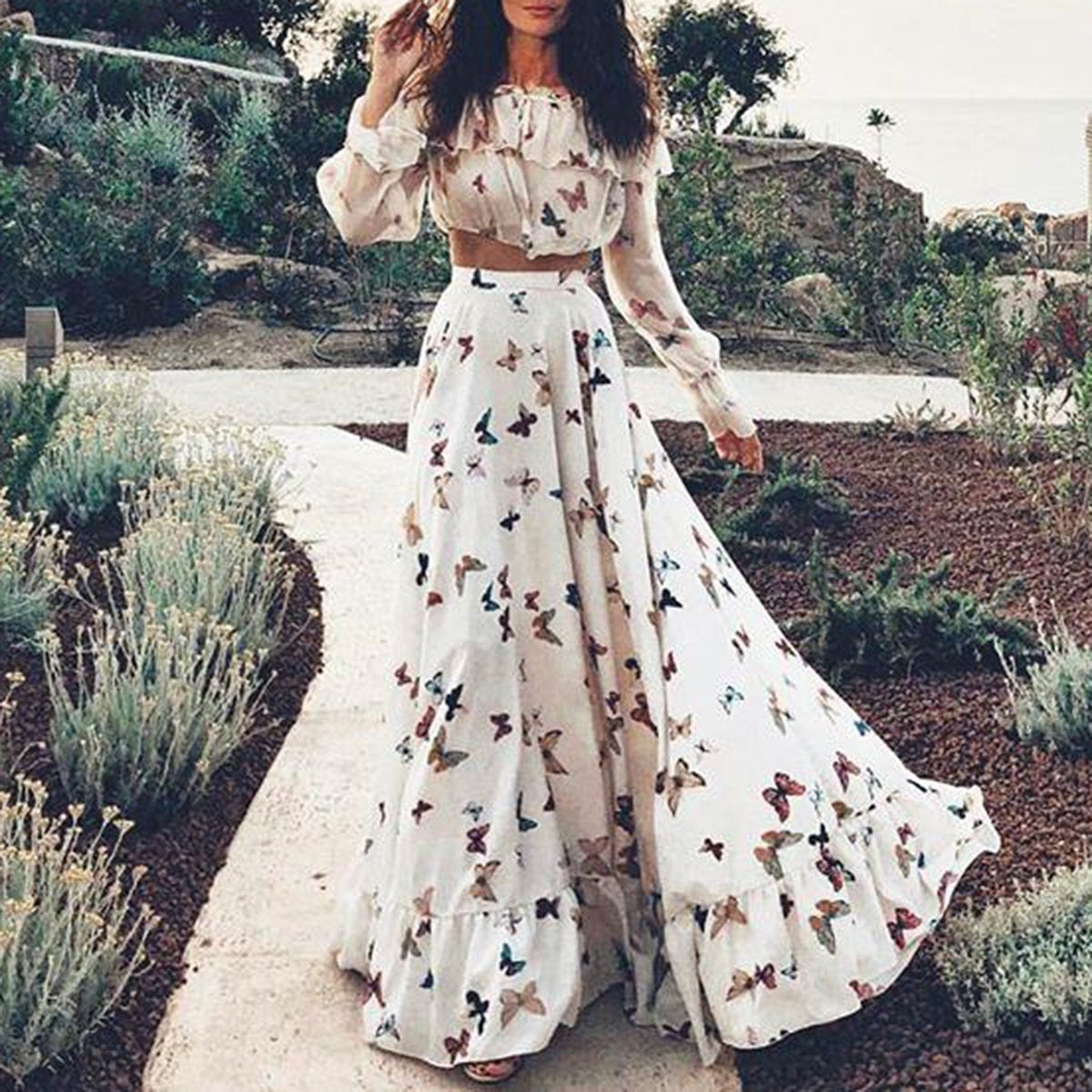 Sexy Off Shoulder Butterflies Floral Printed Maxi Dress