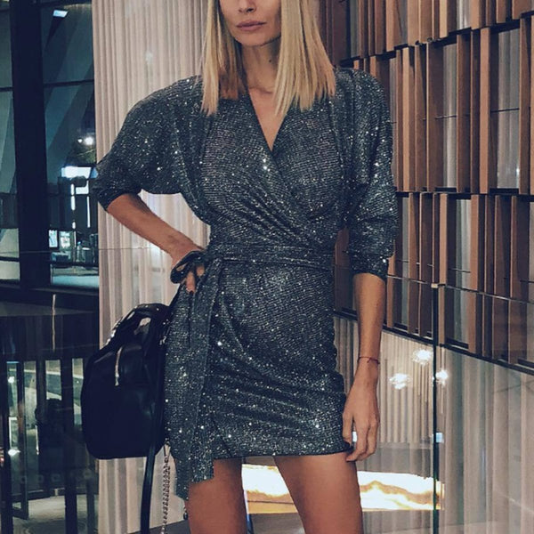 Fashion Sexy Sequined V-Neck  Mini  Bodycon Dress