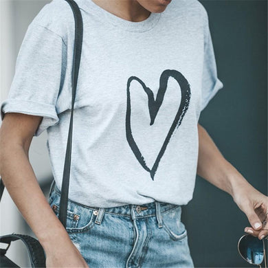 Fashion Casual Loving   Printed T-Shirt With Round Collar And Short Sleeves T-Shirts
