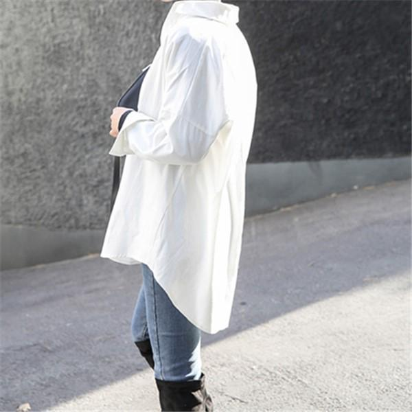 Fashion Casual Long Sleeved Loose Pure Color Shirt