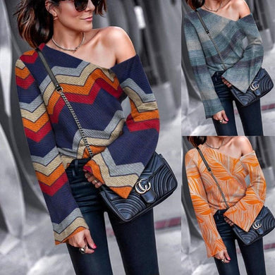 Asymmetrical Collar Printed Long Flare Sleeve T-Shirts