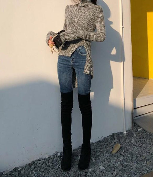 Fashion High Collar   Pure Color Show Thin Knit Sweater Blouse