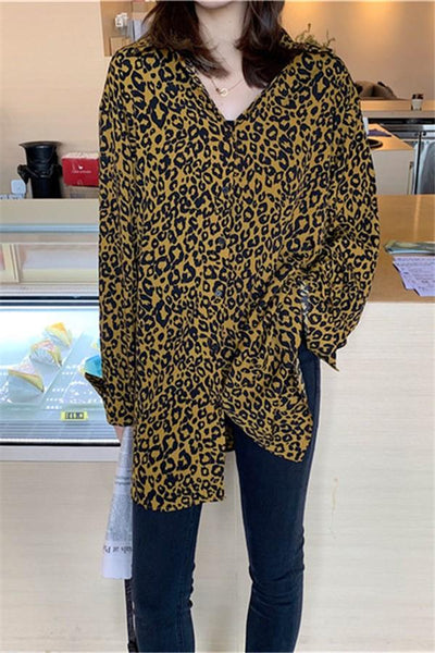 Fashion Lapel Collar   Leopard Print Long Sleeved Shirt