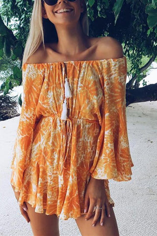 Sexy Word Collar Off-Shoulder Printed Romper Mini Dress