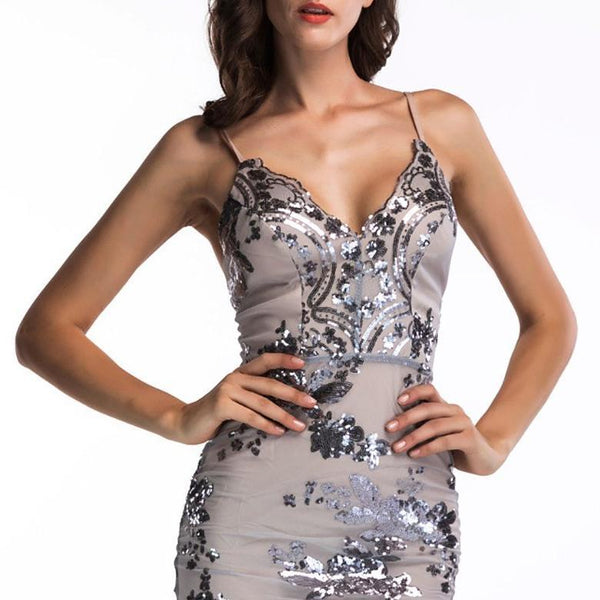 Sexy Sling Bare Back Sequins Bodycon Dresses