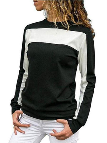 Women's Casual   Spliced  Long Sleeve Hoodies Blouse