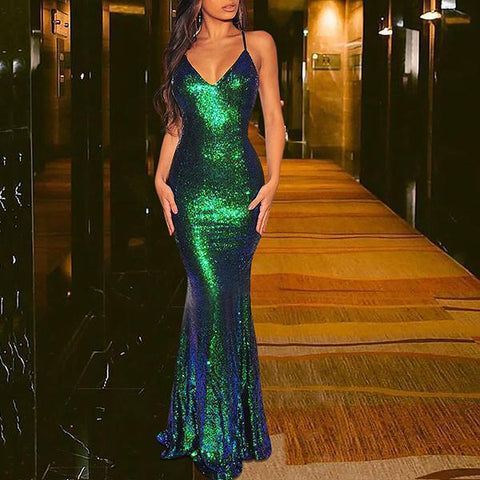 Sequin Mermaid Fishtail Long Banquet Evening Dress