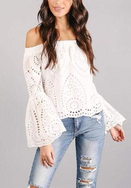 Fashion Lace Hollow Out Boat Neck Long Sleeve Blouses