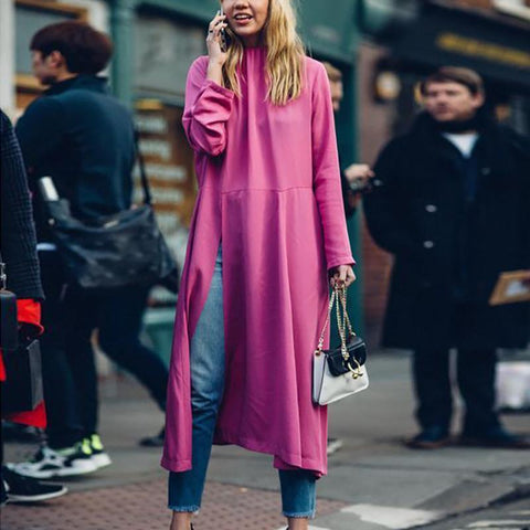Casual Loose Round   Collar Slim  Show Thin Long Sleeve Pure   Color Maxi Dresses