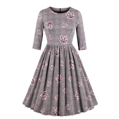 Autumn Round Neck Casual Skater Dress