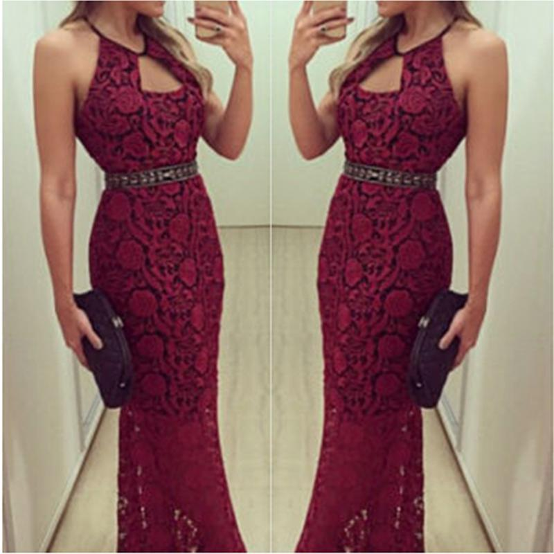 Casual Sexy Off The   Shoulder Backless Lace Sling Maxi Dresses