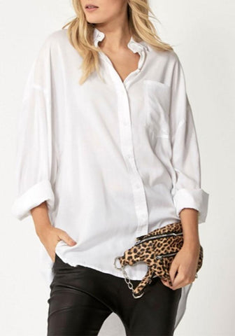 Fashion Pure Colour Long Sleeve Loose Shirt