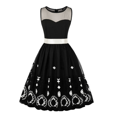 Sleeve Less Round Neck Patchwork Skater Dress