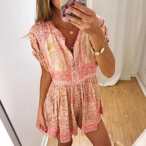Fifity Summer V-Neck Short Sleeve Printed Beach Dress