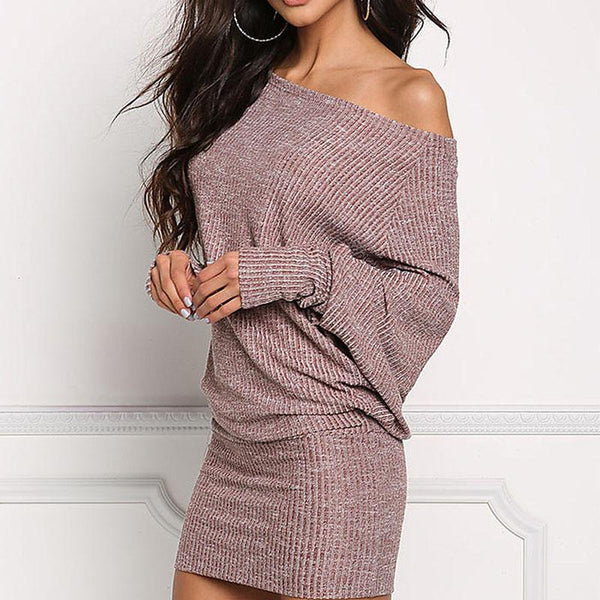Long Batwing Sleeve Plain Sexy Bodycon Dresses