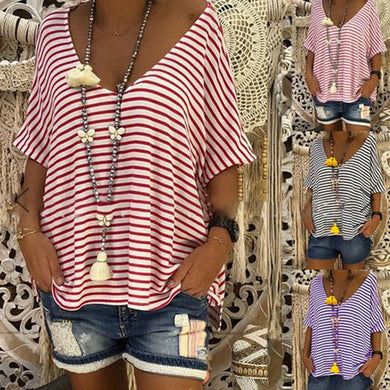 Stripes Deep V Neck Short Sleeve T-Shirts