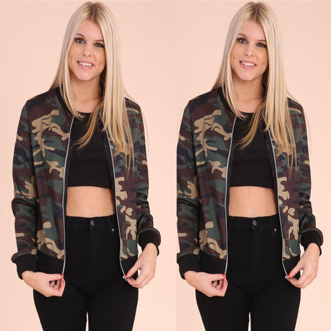 Camouflage Stand Collar Short Jacket Coat