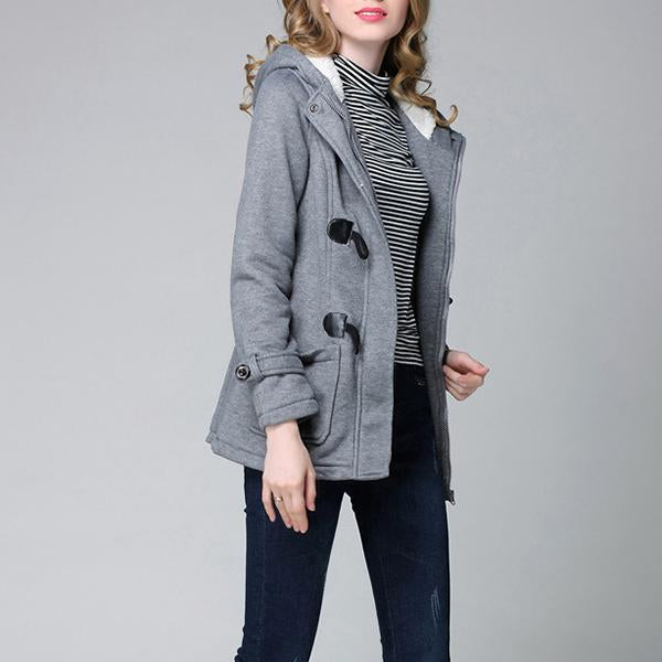 Trench Coat Horn Button Wool Casual Thick Outwear