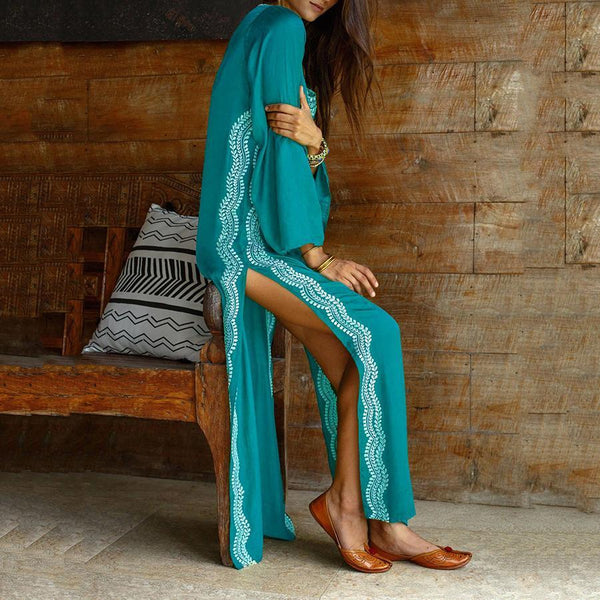 Embroidered Robes Holiday Beach Blouse