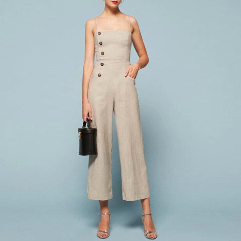 Commuting Off-Shoulder Sleeveless Wide-Leg Trousers Jumpsuits