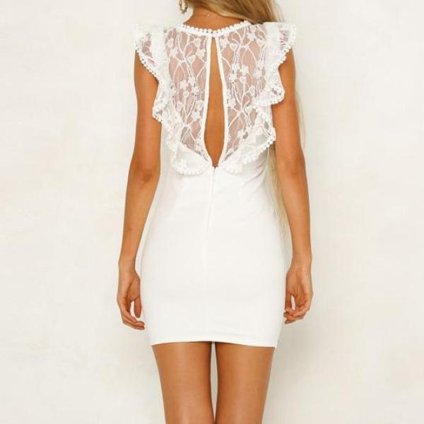 Lace Sleeveless Sexy Backless Bodycon Dress