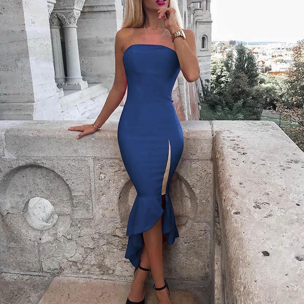 Sexy Pure Color Cosmetic Chest Irregular Fishtail Bodycon Dress
