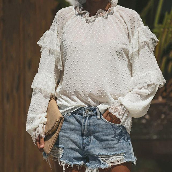 Fashion Lace Split Joint Ruffled Neckline Loose Top