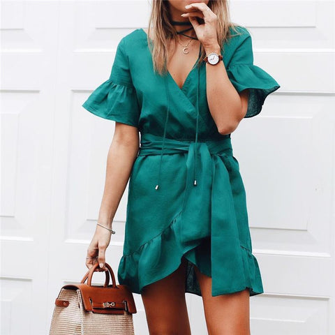 Commuting V Neck Ruffled Belted Pleated Dress