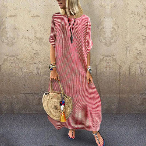 Fashionable Round Collar Loose Stripe Short Sleeve maxi Dress