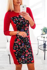 Round Neck  Print  Long Sleeve Bodycon Dresses