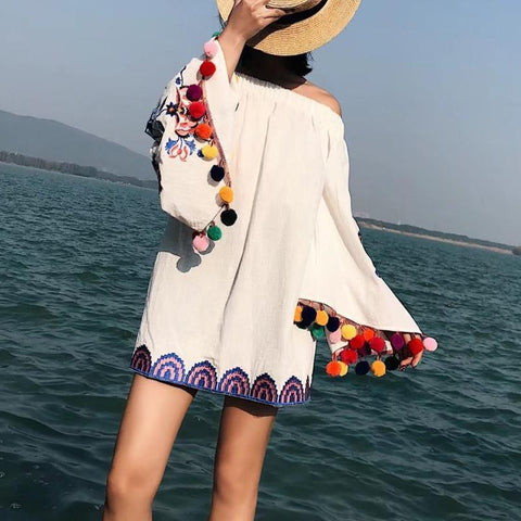 Casual Bell Sleeve Boat Neck Inwrought Loose Mini Dresses