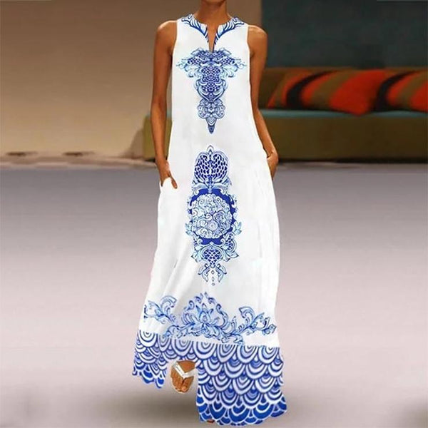 Elegant Printed Color Sleeveless Maxi Dresses