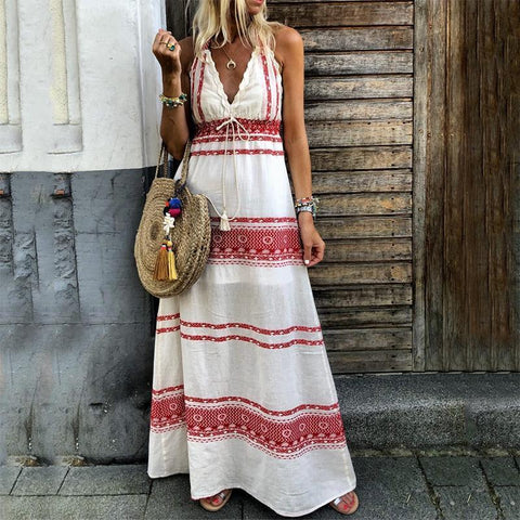 Boho V Neck Sleeveless Belted Printed Colour Splicing Vacation Maxi Dress