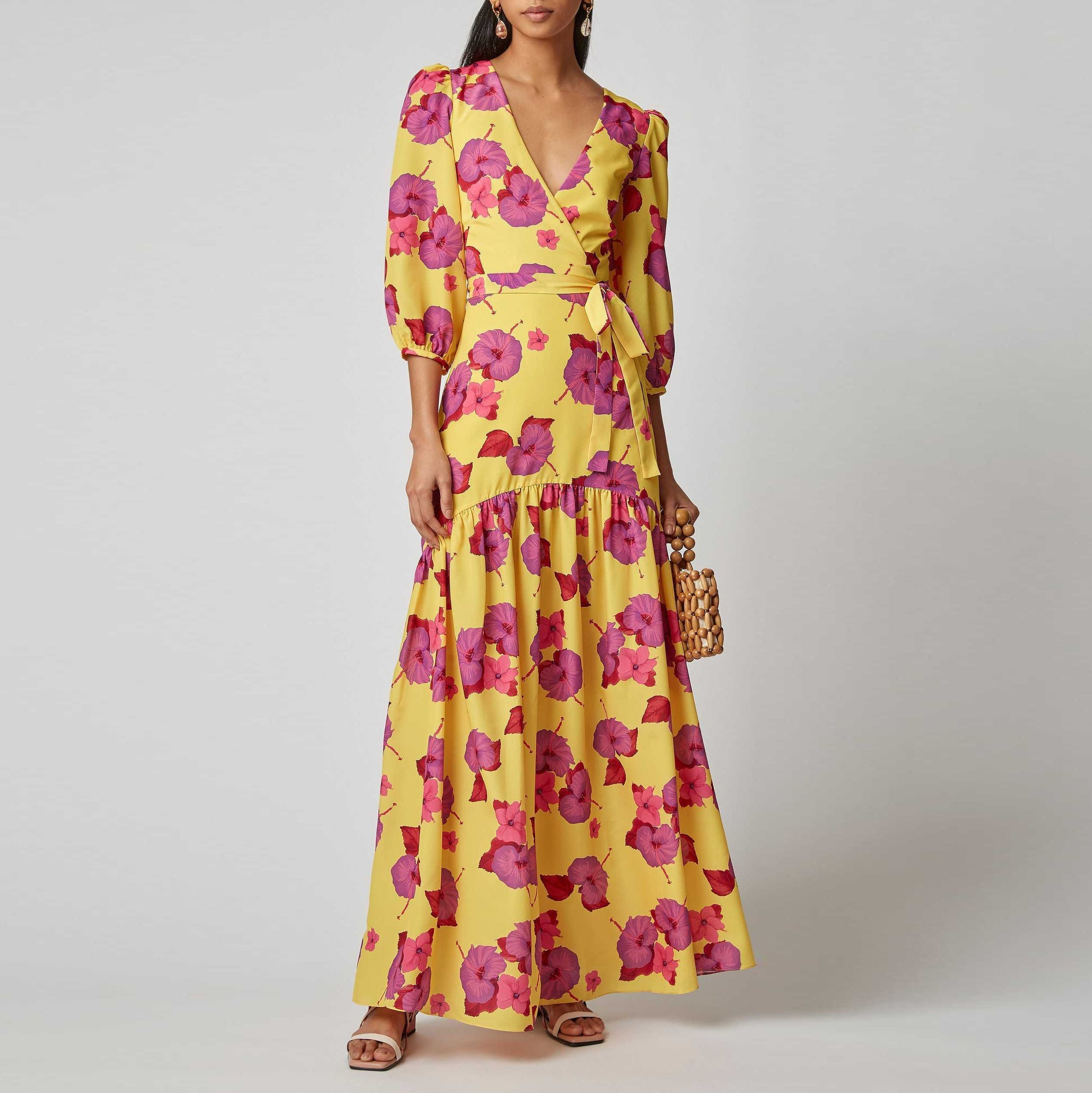 Fashion Printed Bishop   Sleeve Maxi Dress