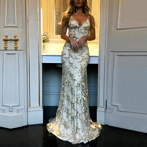 2019 Sexy Sequins Deep V Sling Dress