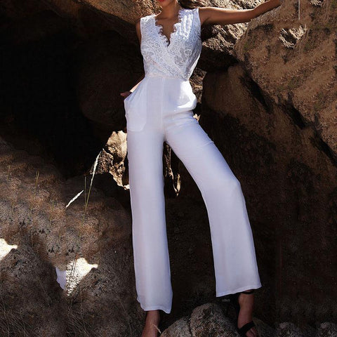 Sexy Lace V Collar Sleeveless Trousers Jumpsuit