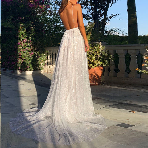 Fashion Sexy Sleeveless Halter   Open Back Maxi Dress
