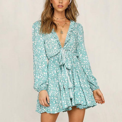Bohemian V Neck Belted Long Sleeve Floral Pattern Ruffled Mini Dresses