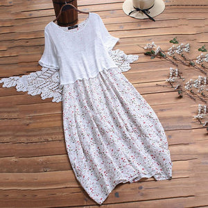 A Loose Round Collar Broken Flower Casusl Dress