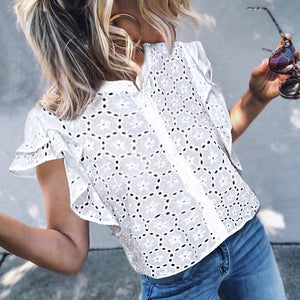 Elegant Ruffled Hollow Out Inwrought Short Sleeve Chiffon Top