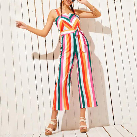Casual Off-Shoulder Bare Back Contrast Color Stripe Belted Jumpsuit