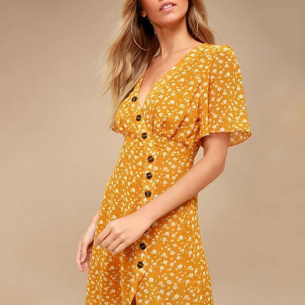 V-Neck Sexy Button Printed Dress