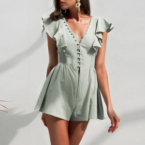 Fashion Sexy Ruffled Short   Jumpsuit