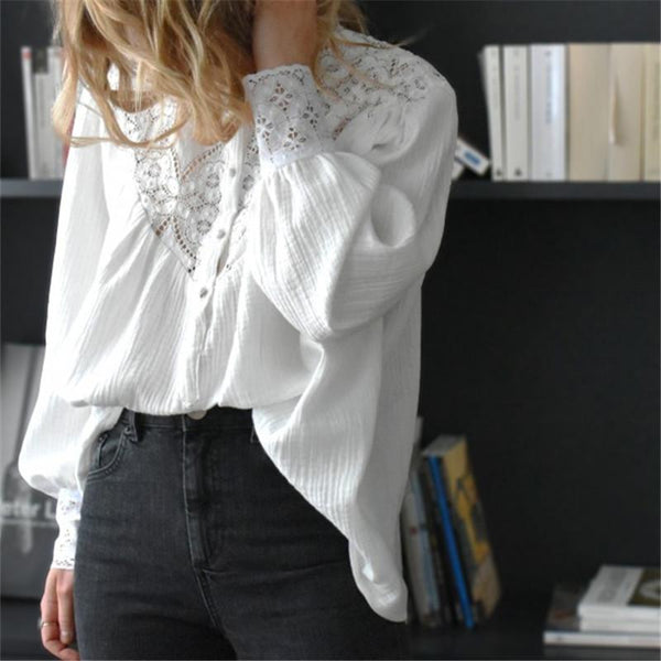 Women's Stand Collar Lace Stitching Single-Breasted Long-Sleeved Shirts